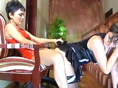 Lesbian mistress ass fucks her sexy maid with a strapon