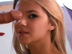 Chutné Mladá Blondýnka Miluje Jezdit Kohout