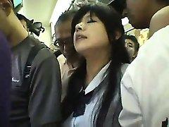Innocent Schoolgirl gangbanged in a train