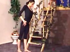 Flexibilní nádherná gymnastka babe prdeli