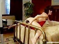 Stretched legs in bed brunette Veronica Avluv fucks machine