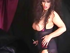 Classic Busty Cougar Smoking and Toying