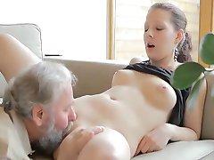 Horny old man fucks son's girlfriend