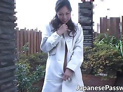 Cute Asian MILF gives blowjob outdoor and piss after that