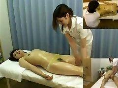 Massage hidden camera films a gal providing hj