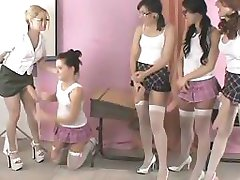 Five schoolgirls in sexy skirts loving part5