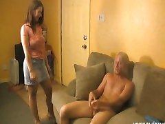 Horny Babe Jacks A Naked Dude