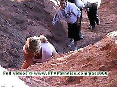Marissa sexy busty blondynka poćwiczyć i migający cycki odkryty