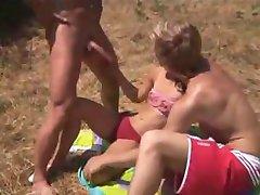 Nude Beach - Bi MMF Threesome