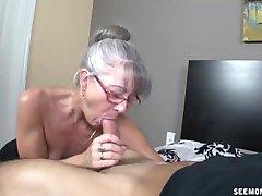Skinny greyhaired granny sucks my cock