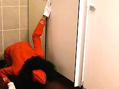 Tight ebony stewardess Luna Corazon banged in toilet room