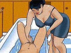 Зрелая мама мастурбирует член своего мальчика! Анимация!