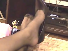 Hot wife in black stockings and high heels