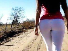 УДИВИТЕЛЬНЫЙ ПОДРОСТОК ТЕЛО! в Ультра плотный Белый спандекс идеальная задница!