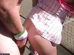 Nasty amateur couple fucking on a tennis court