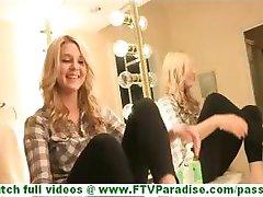 Chloe petite cute amateur blonde washing ang licking feet in bathroom