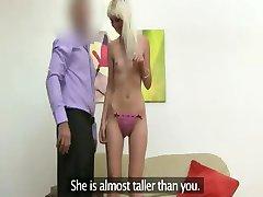 Skinny blonde fucking on fake casting