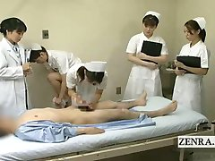 Subtitled CFNM Japanese doctor nurses blowjob seminar