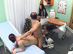 Doctor fucks cleaning lady and nurse in fake hospital