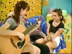 Russian girls stop playing the guitar and suck and fuck him for cum