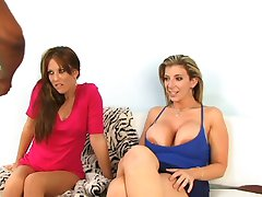 Joselyn Pink and Sara Jay suck black cock and get creamed by stud