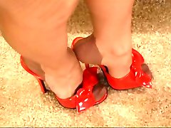 Red Nails Pink Lingerie Tan Nylons