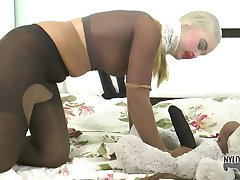 Mad pantyhose encasement action with Darina