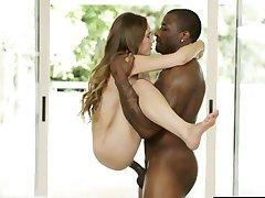 ZWARTE tiener tiener Meisje Skye West Eerste Interracial