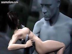 3D animeeritud babe on saada puudutanud ja sõrmede abil hiiglane