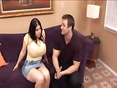 Busty brunette has huge tits and sucks and fucks this guy's cock