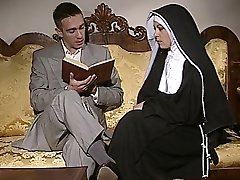 Shy Nun gets her arse pulverized and face spermed