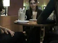Flashing at a cafe