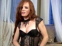 Sexy Redhead in stockings & high high-heeled slippers