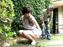 Japanese AV Model is a horny maid enjoying a rock hard boinking