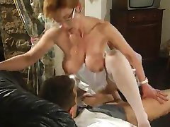 Mature French Nurse fucked by two Guys