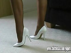 Horny leggy Milf talks dirty to you about cuming inside her sexy stiletto heels