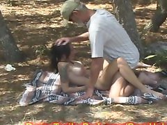 MILF MOM used a SEX SLAVE in WOODS