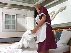 Rimming and fucking a tranny maid