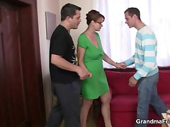 Hardcore threesome party with old bitch