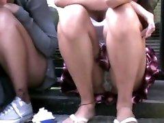 damsel sitting in the street - upskirt!!