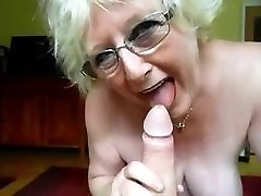 granny super-cute bj and domme gives huge cock hj