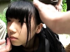 Weird asian group play with squirting teenager