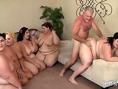 Five Insatiable BBWs fucked by 3 cocks