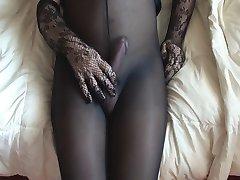 Cumming in meine Strumpfhose schwarz