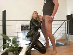 german blonde in latex gets anal creampie