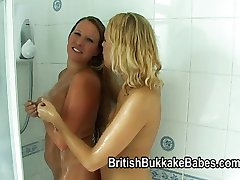 Faye and Sandie wrestle and suck cock