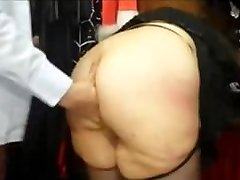 Chubby french MILF with a big donk fucked in a sex shop