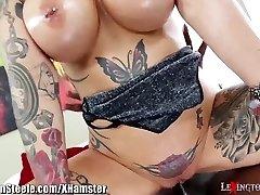 Big Bosoms Tattooed MILF on Phat Black Cock