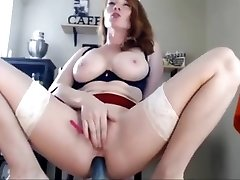 Redhead big-chested goddess masturbating blasting on webcam