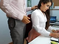 hot dark haired secretary playing in office 1